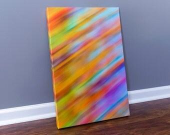 Abstract Art On Canvas, Horizontal Framed Print, 16 x 24, Colorfull Wall Art, Modern Home Decor, Orange, Blue, Purple, Rainbow Pattern