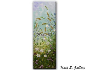 "Daisies Art Original Painting Wildflower Field Abstract Daisy Textured Artwork Interior Decor Vertical Art Painting 36"" x 12"" by Nata S."