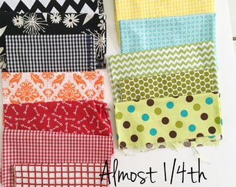 almost a 1/4 yard of fabric-chevron-polka dot-arrow fabric-quilting fabric-hobby fabric-craft fabric-gingham-checkerd-floral-geometric