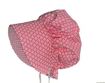 Pink Baby Bonnet, Baby Sun Hat, Pink Bonnet, Baby Girl Sun Bonnet, Summer Bonnet, Cotton Hat, Toddler Bonnet, Newborn Bonnet Made To Order