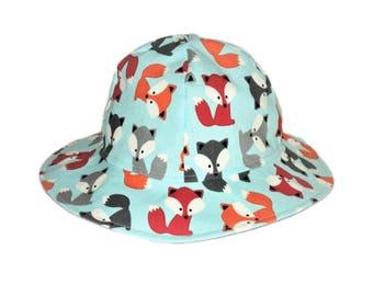 Baby Sun Hat, Fox Baby Hat, Newborn Hat, Toddler Hat, Summer Hat, Childrens Hat, Boy Or Girl Cotton Hat, Floppy Beach Hat, Made To Order