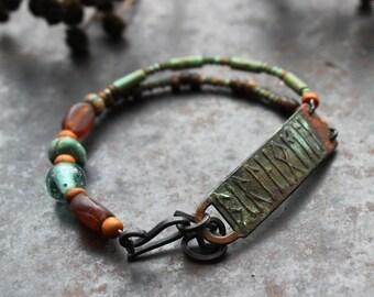 Bear and Elk - runic inscription bracelet, rustic etched bracelet, verdigris and rust color bracelet, norse bracelet, shaman bracelet