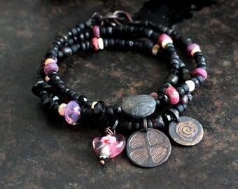 Solar cross and spiral symbol bracelet, black and fuchsia bracelet, heart charm triple bracelet, rustic love amulet bracelet or necklace
