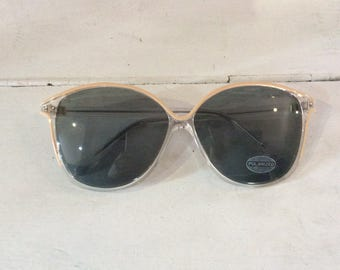 90s does 60s Large Nude/transparent Sunglasses
