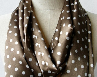 Light Brown and White Polka Dot Silky Satin Loop Infinity Circle Scarf