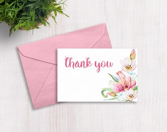 Thank you cards: Spring Flowers - Print at home