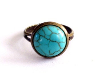 Faux Turquoise Ring, Adjustable Antiqued Brass Ring, Southwestern Ring, Boho Jewelry, Southwest Jewelry, Blue and Brass Ring