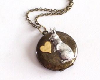 Rabbit Locket, Collage Locket, Antiqued Brass Locket, Rustic Locket, Bunny Locket, Bunny Jewelry, Round Locket, Rabbit Pendant Necklace