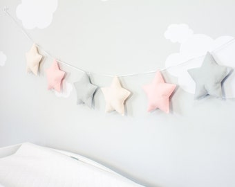 Star Banner, Nursery Wall, Decoration, Pink and Gray Fabric Banner, s2