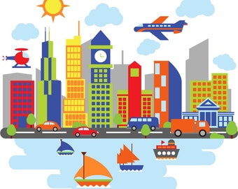 Kids wall decals / city decal / water / buildings decal / vinyl wall decal / nursery wall decals  / plane decals / sail boats / Chicago
