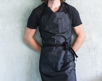Oui Chef Restaurant Apron | Charcoal Denim