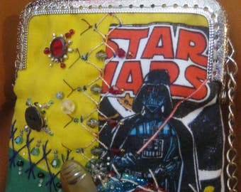 Star Wars Hand Made Party Purse Crazy Quilt OOAK Retro Comic Book Hand Embroidered Embellished Geek Bag Crystals Vintage Buttons Darth Vader