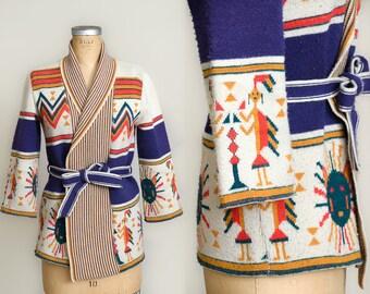 70s Navajo Sabra Sweater Southwest Tribal Sun Themed Hippie Wrap Sweater