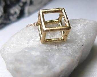 Gold Cube Necklace - Square Necklace - Open Cube - Open Square - 3D Square - 14k Gold Fill Chain - Geometric - Choose Chain Length