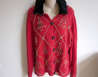 Ugly Christmas Sweater Red beaded cardigan Holiday party winner L XL