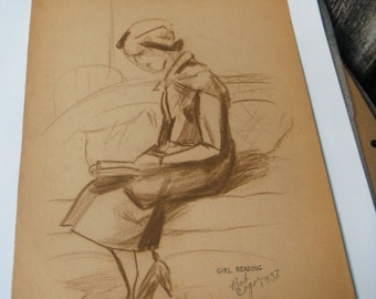 Antique Artist Signed - Bob Cogor - Pencil Drawing - Sketch - Girl Reading