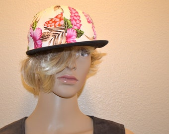 Vintage BK Hawaiian hibiscus hat Baseball trucker Hat  Snap back Hat cap  hat one size fits all vacation Unisex  hat