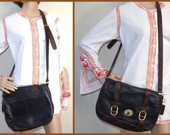 Vintage 80s black brown leather purse by Etienne Aigner hand crafted designer crossbody shoulder bag travel bag