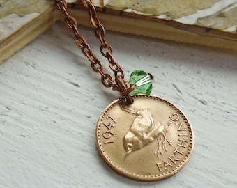 70th Birthday Gift for a Woman, 1947 Wren Farthing Necklace, 70th Anniversary Present, Birth Month Necklace, Birth Year Gift