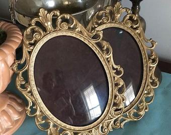 Vintage Italian Oval Gold Frames ~ 2 Baroque Frames