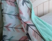 Fitted Crib Sheet, Baby Bedding, Blanket, with options in Tribal Arrow Print, Peach, Coral, Mint, Blush
