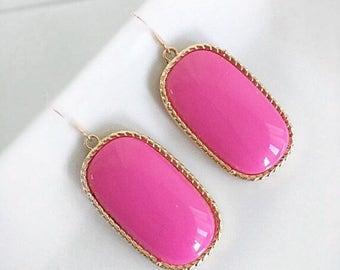 FLASH SALE :Fuschia Pink Statement Earrings Bold Pink Gold Setting Bridesmaid Earrings Bold Statement Fun Pretty in Pink