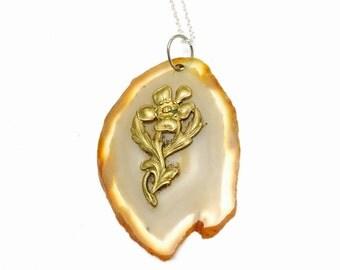 Geode Slice Pendant, Vintage, Romantic, Gold Tone, Floral Design, Clearance Sale, Item No. B599