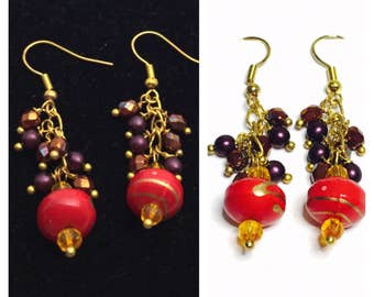 Beaded Earrings, Red Cluster, Large Red Beads, Gold Tone, Dangling, Clearance Sale, Item No. B197