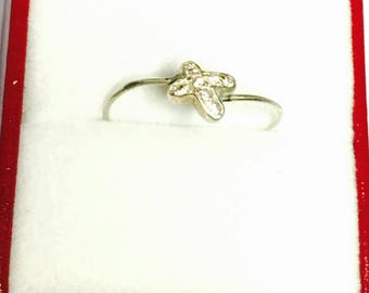 Vintage Thumb Ring Size 9, Stackable, Sterling Silver, Clear Stones, Clearance SALE, Item No. S331