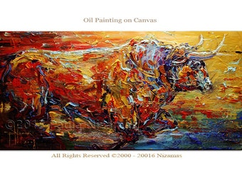 Painting Bull in Red Oil texture on canvas from Paula Nizamas Animal art interior design art ready to hang