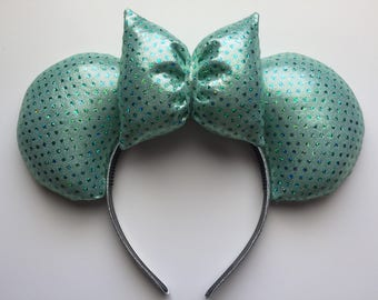 Disney Mint Green Sparkly Sequin Mickey Ears