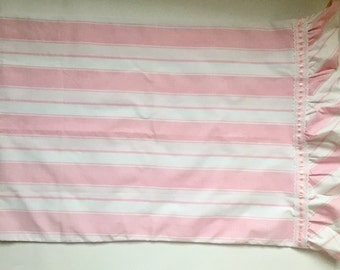 Vintage 1960s 70s Martex Percale Pink Stripe Ruffle Standard Pillowcase