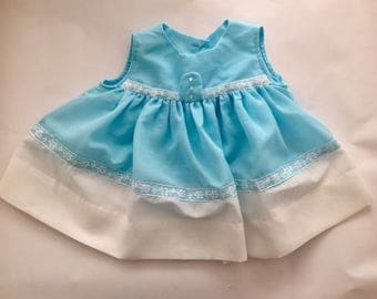 Vintage 1960s Sleeveless Blue White Baby Girl Dress 9 12 Months