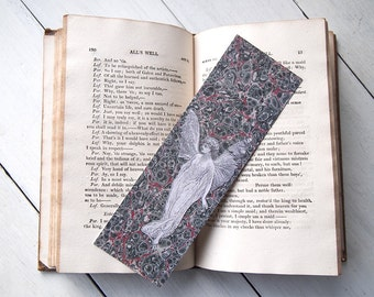 Titania A Midsummer Night's Dream bookmark.  Marbled endpaper from an 1809 edition of Shakespeare's works with a Gordon Browne illustration.