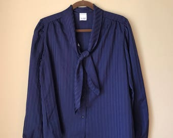 Vintage New Fashion Long Sleeved Button Down Navy Blue Sheen Blouse