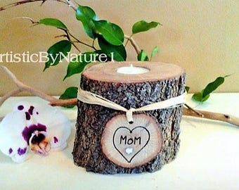Tree branch candle - Holiday gift -  Personalized candle - Heart Candle - Wedding candle - Anniversary candle - Wood candle