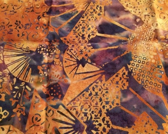 Hoffman Batik Navy Blue Gold Mix Cotton Fabric Fat Quarter