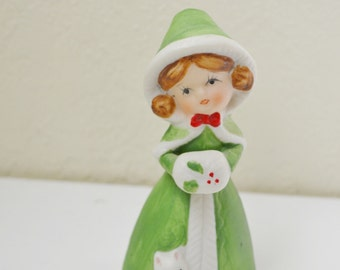 Vintage Jasco Merri-Bells Christmas Bell Little Girl with Kitten Green Bisque Porcelain Figurine Ornament
