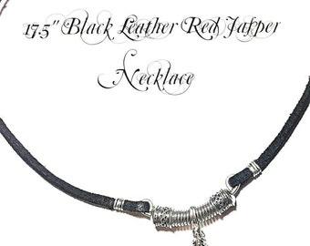 Handmade Leather Jasper Necklace