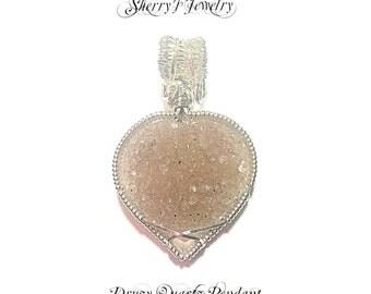 Gemstone Necklace, Druzy pendant, Quartz Pendant, Silver Pendant, Handmade Druzy Quartz & Sterling silver wire wrap pendant