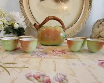 Superb antique/vintage French porcelain apple carafe liqueur set.  Limoges porcelain.