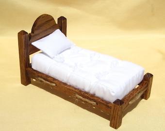 Dollhouse Bed Mini Single Bed 12th Scale Oak Rope Bed Smalll Doll Bed Twin Size 12th Scale Dollhouse Bed Miniature Bed Miniature Oak Bed