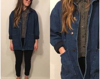 Vintage 90s Denim Jacket Corduroy Button Up Jacket Blue Jean Size Small