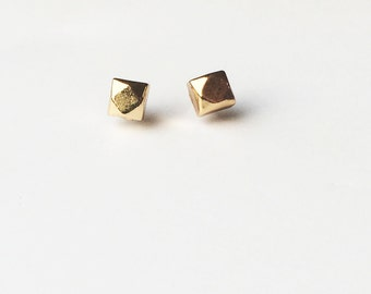 Tiny Gold Stud Earrings Geode