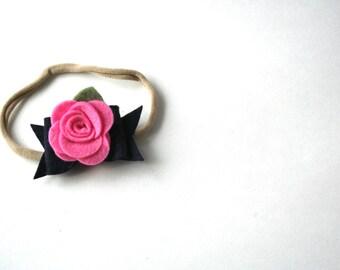 Felt Bow Headband in Navy and Pink