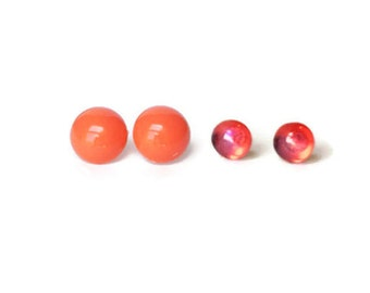 Stud Earrings Set Coral and Fire Opal