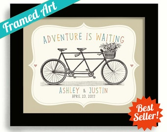 Something for the Bride Soon to Be Mrs Unique Wedding Gift First Anniversary Gift Tandem Bike Personalized Wedding Sign Adventure Awaits