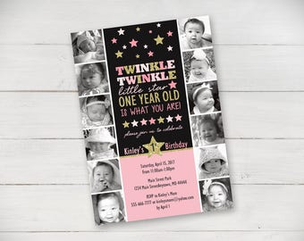 The First Year Twinkle Twinkle Little Star Invitation - Digital File