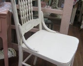 Vintage Hand Painted White Chair Press Back Farmhouse Shabby Chic Paris Flea Market