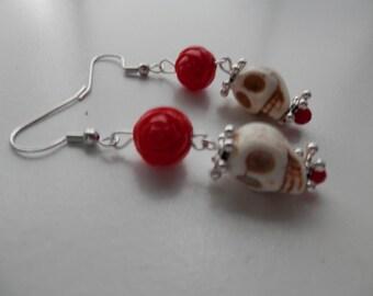 WHITE Sugar skull earrings with Vintage ROSE Beads